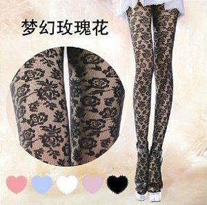 Meia-calça preta de renda (padrão de rosas)