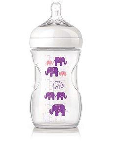 Mamadeira Pétala, 260ml (1m+), Elefantes rosa/lilás, da Philips Avent