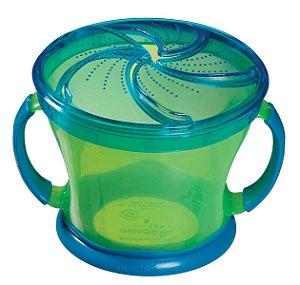 Porta Biscoitinhos verde e azul, com alças, capacidade 250gr e idade a partir 12 meses, da Munchkin