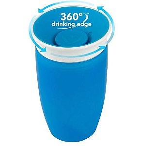 Copo Grande de Treinamento 360º, sem alça, cor azul, capacidade 296ml, a partir 12 meses, Munchkin
