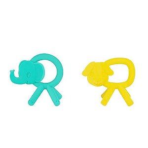 Mordedor Bichos 100% em silicone, da Bright Starts (nas cores amarelo ou verde água)