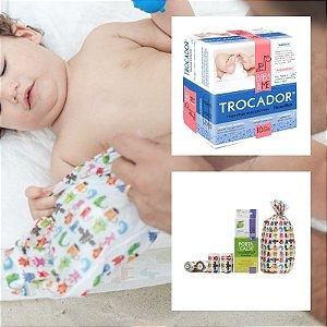 Trocador Descartável Absorvente (com 10 unidades) + Porta Caca (com 48 saquinhos), da Baby and Me