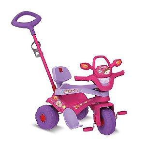 Triciclo Motoban 3 em 1 Passeio + Andador + Pedal Rosa Bande
