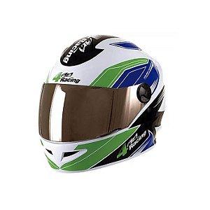 Capacete 4 Racing (+ Viseira Cromada) Verde/Azul | 56 Pro To
