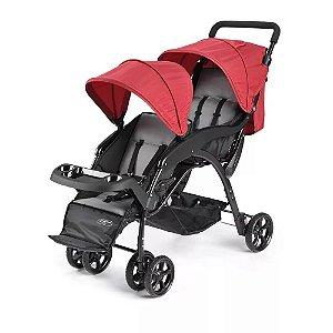 Carrinho de Passeio para Gêmeos Duo Vermelho Multikids Baby