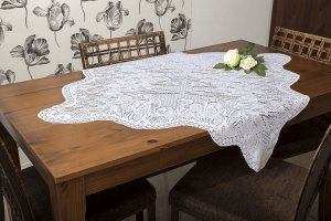 Toalha Quadrada Branca Tulipinhas -135597 -  1m X 1m