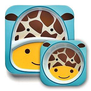 Conjunto com 2 pratos (prato raso com divisória e tigela funda), Skip Hop Zoo, tema Girafa