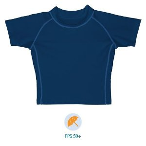 Camiseta infantil de banho, Manga Curta, Azul Marinho da Iplay com FPS 50+
