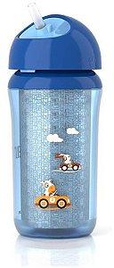 Copo térmico, bico macio, canudo retrátil, antivazamento, cor azul, 260ml, da Philips Avent
