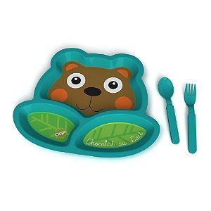 Kit Alimentação Urso Chocolate ao Leite, da Oops com 3 peças (prato com 3 divisórias, colher e garfo)