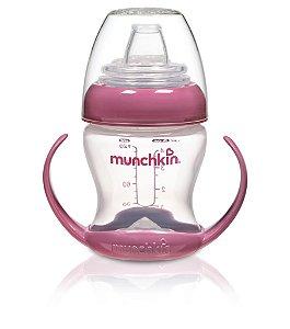 Copo de Transição com bico flexível, alças removíveis, capacidade 118 ml, cor rosa, da Munchkin