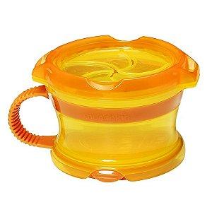 Porta Biscoitinhos Click Lock, com tampa, alça e fundo emborrachados, cor Laranja/Amarelo, da Munchkin