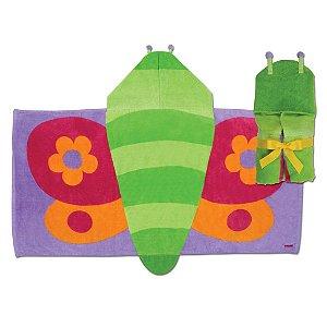 Toalha de banho infantil com capuz, tema Borboleta, da Stephen Joseph