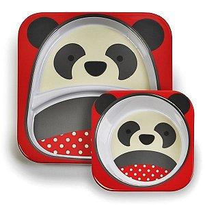 Conjunto com 2 pratos (prato raso com divisória e tigela funda), Skip Hop Zoo, tema Panda