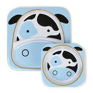 Conjunto com 2 pratos (prato raso com divisória e tigela funda), Skip Hop Zoo, tema Vaca