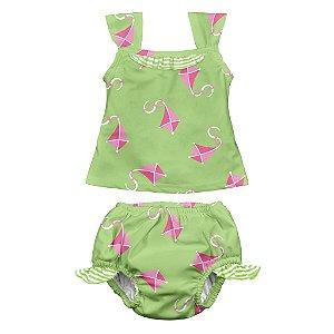 Conjunto (tankini) de Camiseta Regata e Calcinha para Nadar, impermeável, Pipa, da Iplay com FPS 50+