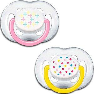 Chupetas Free flow ortodôntica, tamanho 2, 6-18 meses, da  Philips Avent (embalagem com 2 unidades amarela e rosa)