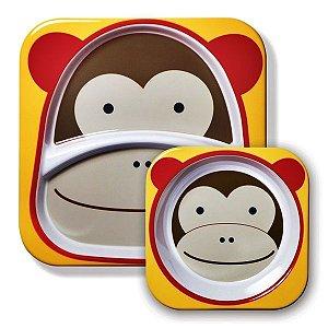 Conjunto com 2 pratos (prato raso com divisória e tigela funda), Skip Hop Zoo, tema Macaco