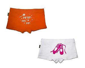 Calcinha Infantil, Estilo Boxer Feminina, da Gumii, Branca e Laranja (pack com 2 unidades), tamanho M