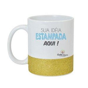CANECA CERÂMICA BRANCA 325ML COM BASE EM GLITER PRATA