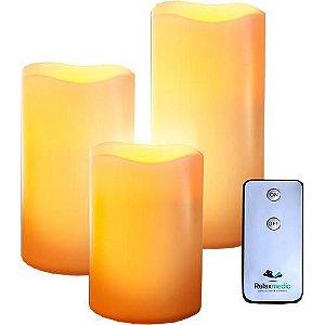 Trio Vela Decorativa em Resina LED com Controle Remoto - Relaxmedic