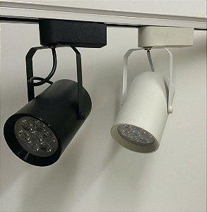 Kit 3 De Luminaria Spot Led Foco Branco Frio 7w E 1 Trilho