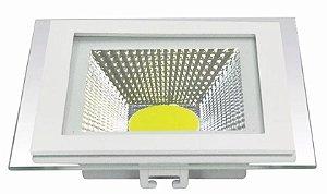 Luminaria Plafon Cob Led 20x20 10w Embutir Quadrado Frio