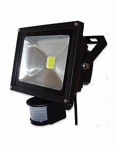 Refletor Led 30w Branco Frio Sensor Presença