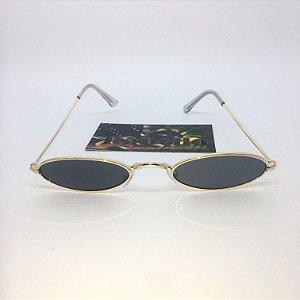 Óculos Vintage Oval - Preto/Dourado