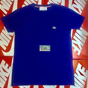 """Camiseta Lacoste Logo """"França"""" - Azul"""