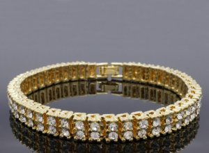 Pulseira ICED OUT  'Gold/Clear'