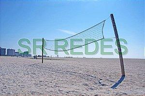 Rede de Vôlei Praia Areia 1,00x8,50 metros no Fio 2.5 mm com 2 Faixas e costura dupla
