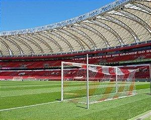PAR Rede de Gol para Futebol de Campo Oficial Profissional Colorida Listrada FIO 10 (SEDA) e Malha 10x10, Resistente e Reforçada.