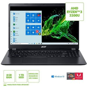Notebook Acer A315-42-R5W8 AMD Ryzen 3 8GB 1TB W10H