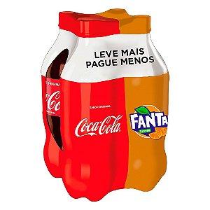 Refrigerante coca cola/fanta laranja - Pack 4x2L