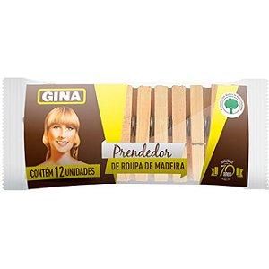 Prendedor de roupa madeira - Gina - 12un
