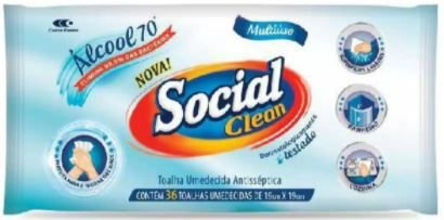 PANO UMEDECIDO ALCOOL 70INPM - SOCIAL CLEAN - 36un