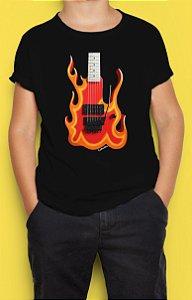 Camiseta Infantil Guitarra Fire