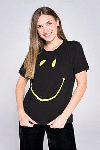 CAMISETA SMILE PRETO/VERDE FEMININA