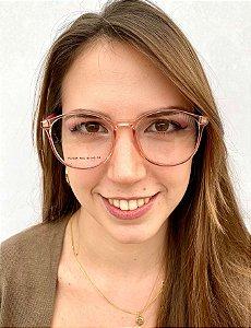 Armação Redonda Rosa para Óculos de Grau Feminino
