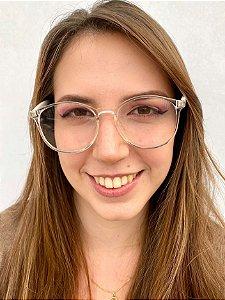 Armação Redonda Transparente para Óculos de Grau Feminino