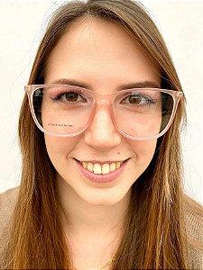 Armação Quadrada Rosa para Óculos de Grau Feminino