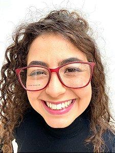 Armação Quadrada Vermelha para Óculos de Grau Feminino