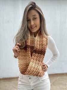 Cachecol Mesclado Formato Gola Feito a Mão em Crochê
