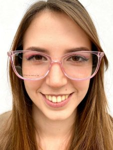 Armação Quadrada Rosa Transparente para Óculos de Grau Feminino