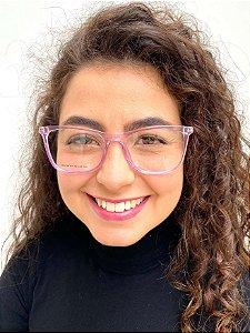 Armação Quadrada Lilás para Óculos de Grau Feminino