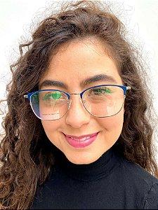 Armação Redonda Azul para Óculos de Grau Feminino
