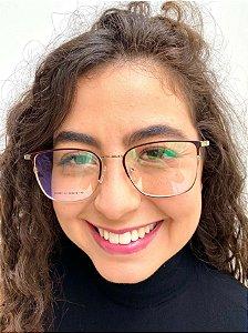 Armação Quadrada Dourada para Óculos de Grau Feminino