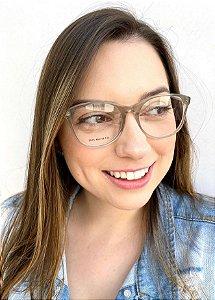 Armação Redonda Cinza para Óculos de Grau Feminino
