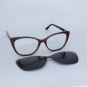Armação de Óculos de Grau 2 em 1 Livy Bordô Seja Cereja